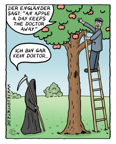 Teddy Tietz Cartoon der Kalenderwoche 21 - An Apple a Day