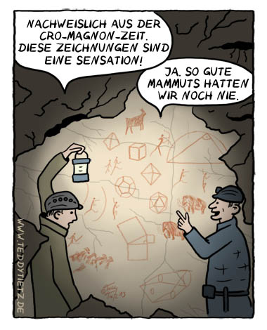 Teddy Tietz Cartoon der Kalenderwoche 37 - Cro-Magnon-Mathe