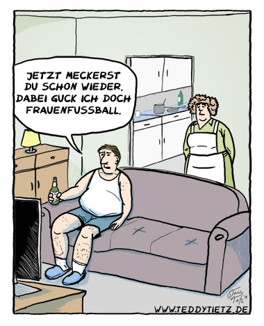 Teddy Tietz Cartoon der Kalenderwoche 17 - Frauenfussball im TV