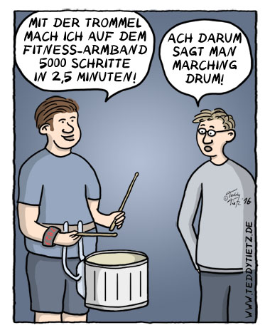 Teddy Tietz Cartoon der Kalenderwoche 38 - Marching Drum