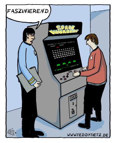 Teddy Tietz Cartoon der Kalenderwoche 26 - Trekkie spielt Space Invaders